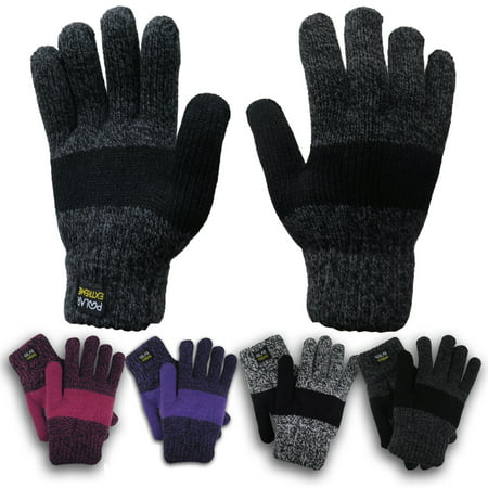 Polar Extreme Women's Thermal  Insulated  Super Warm Winter Gloves (Black) - Black Skeleton Gloves
