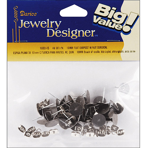 Flat Pad Earring Post and Butterfly Clutch, 10mm, 30pk