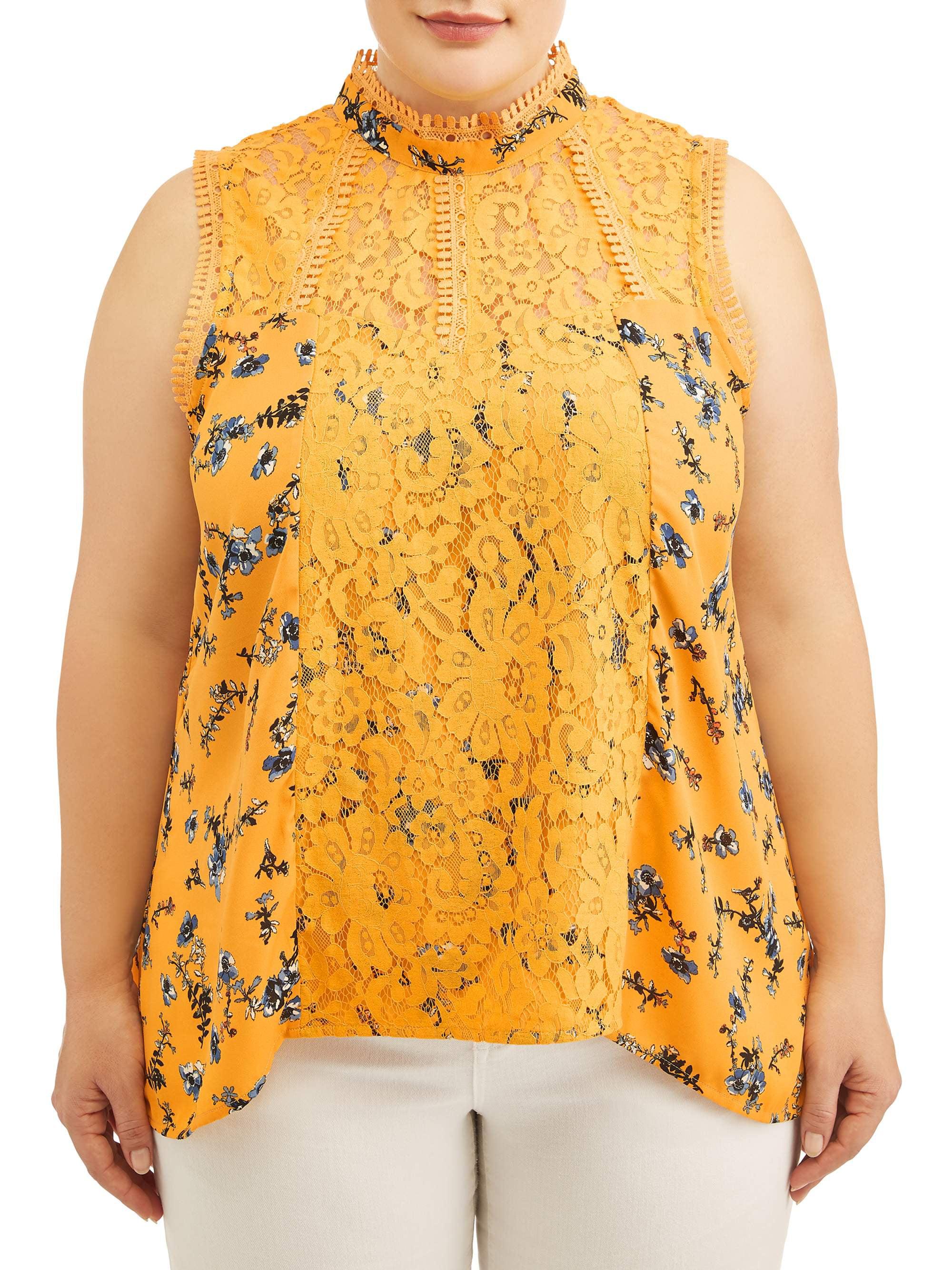 Women's Plus Size Printed Crochet Lace Victorian Top