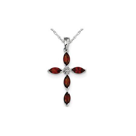 1.50 Carat (ctw) Garnet Cross Pendant Necklace in Sterling Silver with Chain