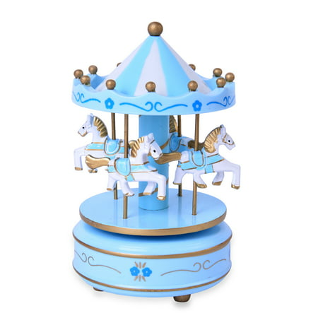 Blue and White 4-Horse Wooden Carousel Music Box 4x4x7""