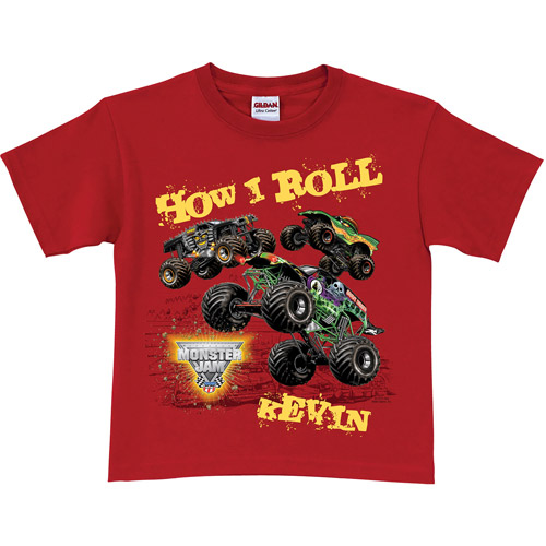 Personalized Monster Jam Red Boys' T-Shirt - How I Roll