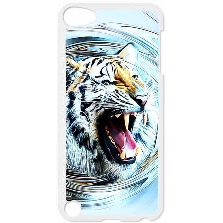 Roaring Watercolor Tiger Hard White Plastic Case Compatible with the Apple iPod Touch 5th Generation - iTouch 5 Universal (Detroit Tigers Ipod 5 Cases)