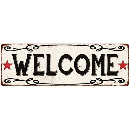 Old Style Metal - WELCOME Country Style w/Red Stars Vintage Look Metal Sign 6x18 Old Advertising Man Cave Game Room M6180778