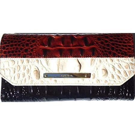 Brahmin Soft Checkbook Cava Tri Color Croc Embossed -