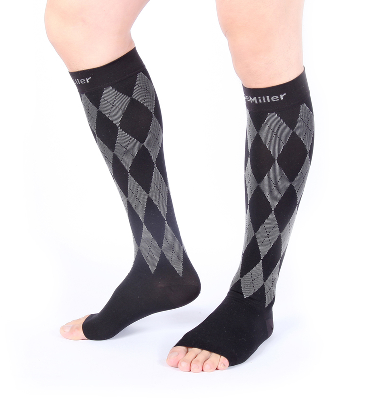 4c8257c723 Doc Miller Premium Open Toe Compression Socks 1 Pair 20-30mmHg Knee High Support  Stockings Recovery Venous Insufficiency Circulation Varicose Spider Veins  ...