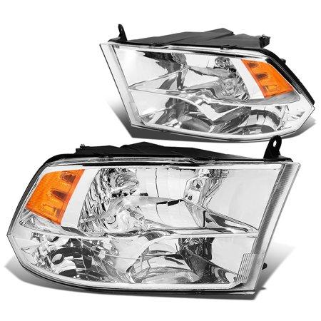 For 2009 to 2018 Dodge Ram Truck 1500 / 2500 / 3500 Pair of Headlight Chrome Housing Amber Corner Headamp - 4th Gen 10 11 12 13 14 15