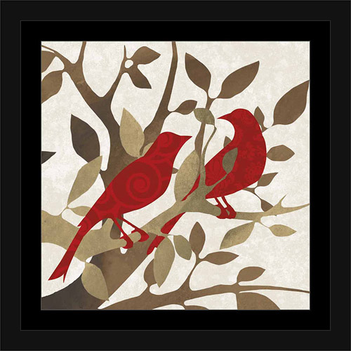 Two Birds on Tree Branches with Leaves Vector Silhouette Texture Red & Tan, Framed Canvas Art by Pied Piper Creative