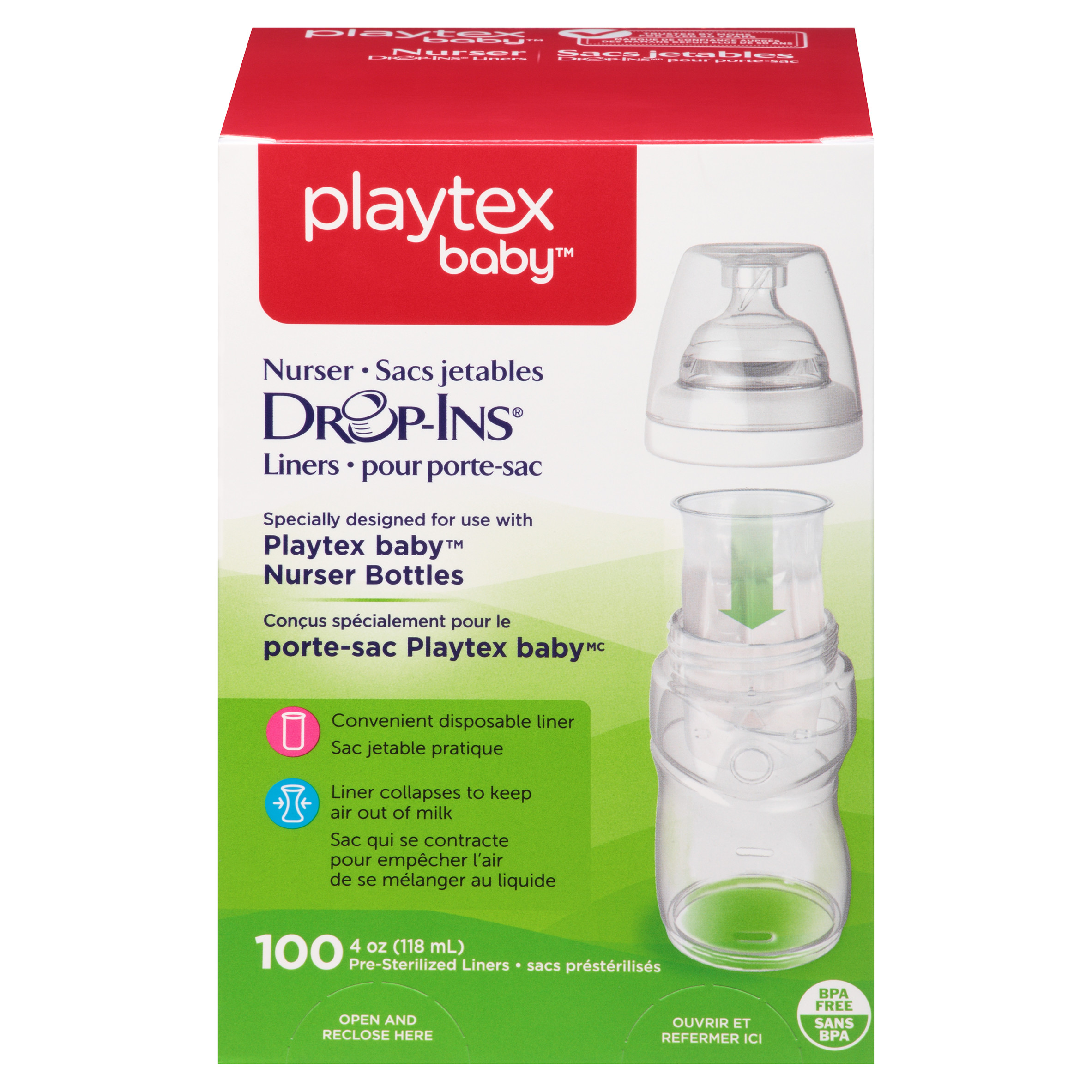 Playtex ULTRASEAL Disposable Pre Sterilized Baby Bottles 4oz Lot of 100