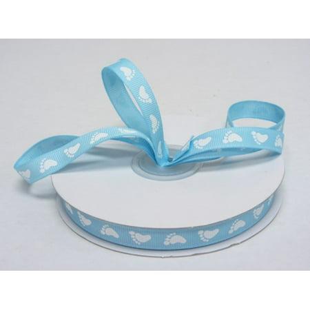 Ribbon Bazaar Grosgrain Baby Feet Print 3/8 inch Blue 25 yards