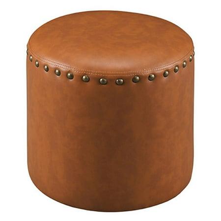 Faux Leather Round Ottoman (K&B Furniture Faux Leather Round Ottoman)