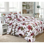 Printed Flannel 3 Piece Blossoms Duvet Cover Set by Tribeca Living