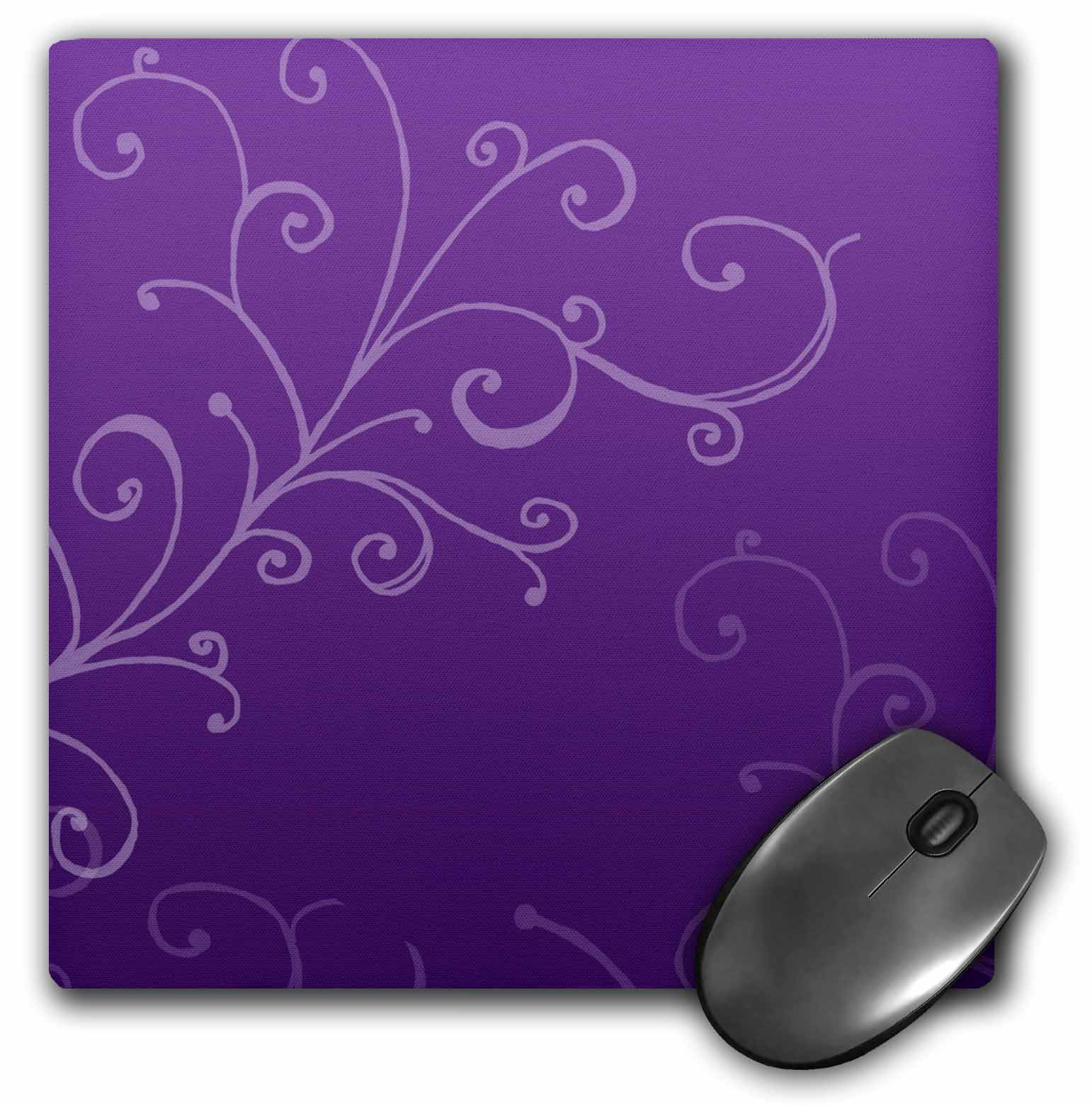 3dRose Stylish Swirl Purple, Mouse Pad, 8 by 8 inches