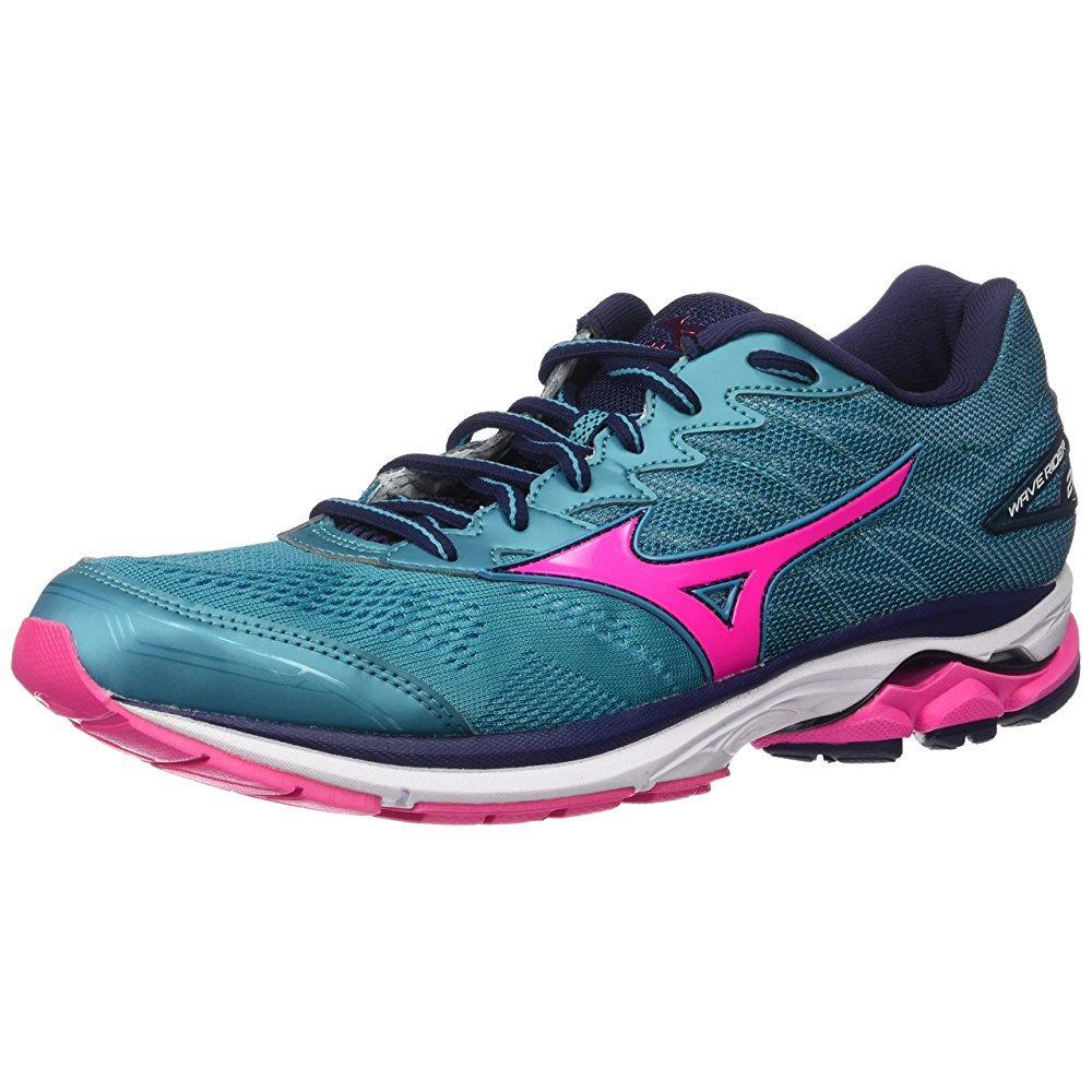 Mizuno running women's wave rider 20 shoes, tile blue/pin...