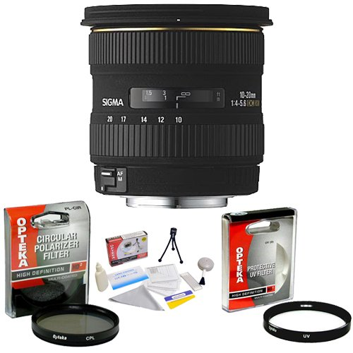 Sigma Wide Angle 10-20mm f/4-5.6 EX DC AF Lens for Canon EOS + Opteka UV Filter + Opteka CPL Filter + Opteka 5 Piece Cleaning Kit
