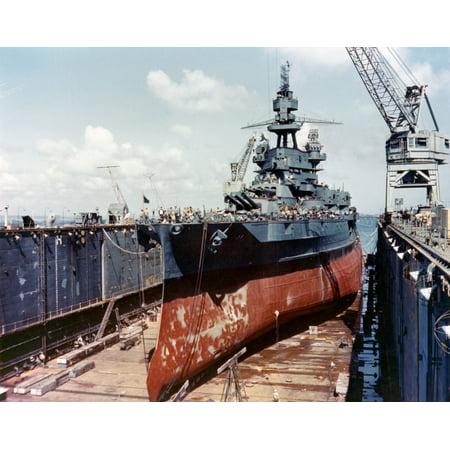 Base Sectional (Canvas Print The U.S. Navy battleship USSåÊPennsylvaniaåÊ(BB-38) drydocked in an Advanced Base Sectional Dock (AB Stretched Canvas 10 x 14 )