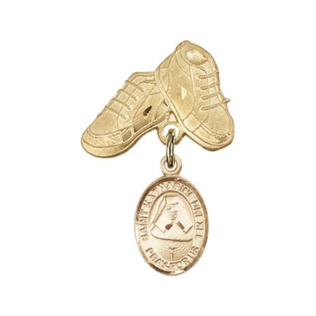 14kt Yellow Gold Baby Badge with St. Katherine Drexel Charm and Baby Boots Pin 1 X 5/8 inches