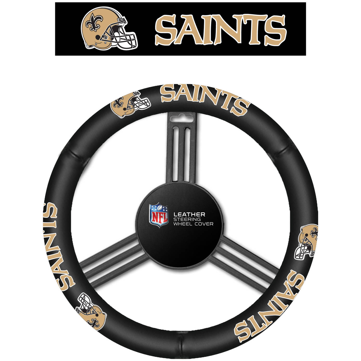 NFL Leather Steering Wheel Cover, New Orleans Saints