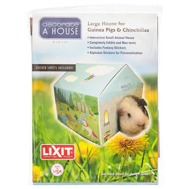 "Lixit Deco House for Small Pets Large - Guinea Pigs, Rats & Chinchillas - (8""L x 8""W x 7""H)"