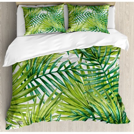 Plant Queen Size Duvet Cover Set, Watercolor Tropical Palm Leaves Colorful Illustration Natural Feelings, Decorative 3 Piece Bedding Set with 2 Pillow Shams, Fern Green Lime Green, by Ambesonne (Queen Padme)