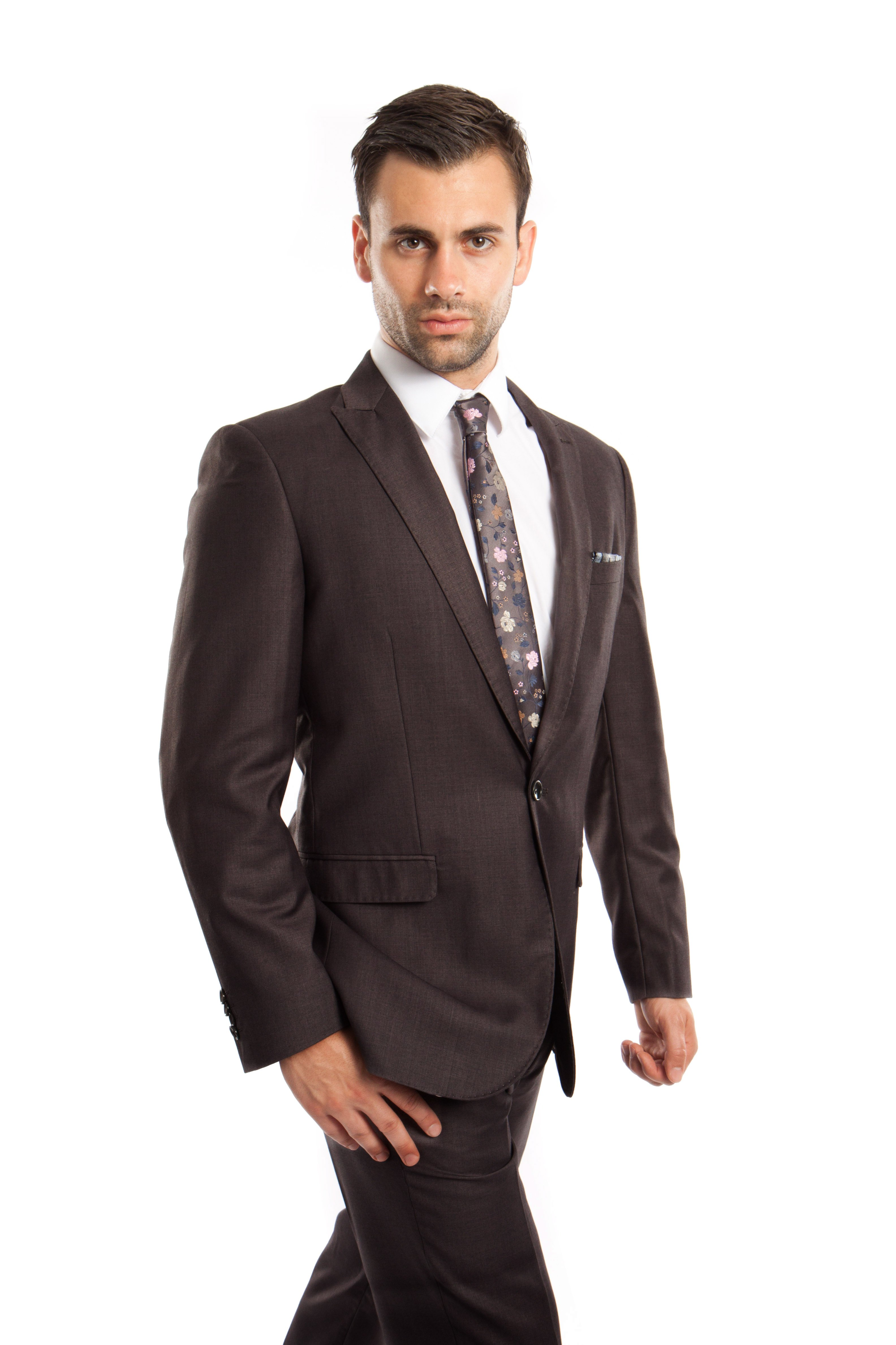 Mens Suit Two Piece One Button Peak Lapel Solid Suits
