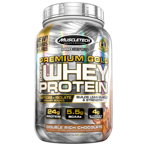 MuscleTech Pro Series Premium Gold 100% Whey Protein Powder, Double Rich Chocolate, 24g Protein, 2.5 Lb
