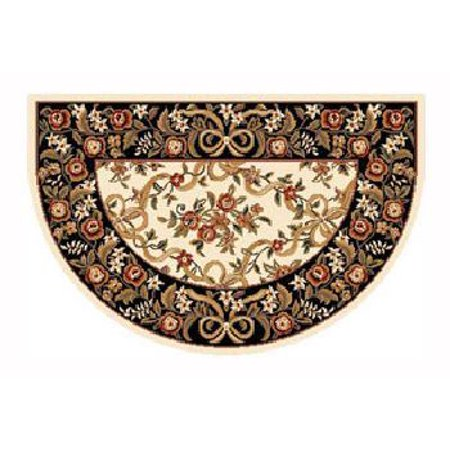 46'' x 31'' Ivory & Black Floral Hearth
