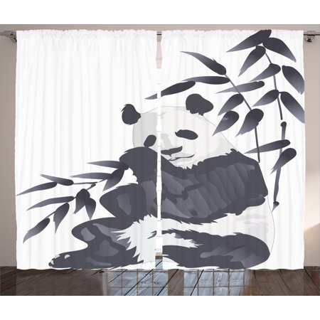 White Curtains black and white curtains walmart : Animal Curtains 2 Panels Set, Giant Panda Bear Sitting in Zoo ...