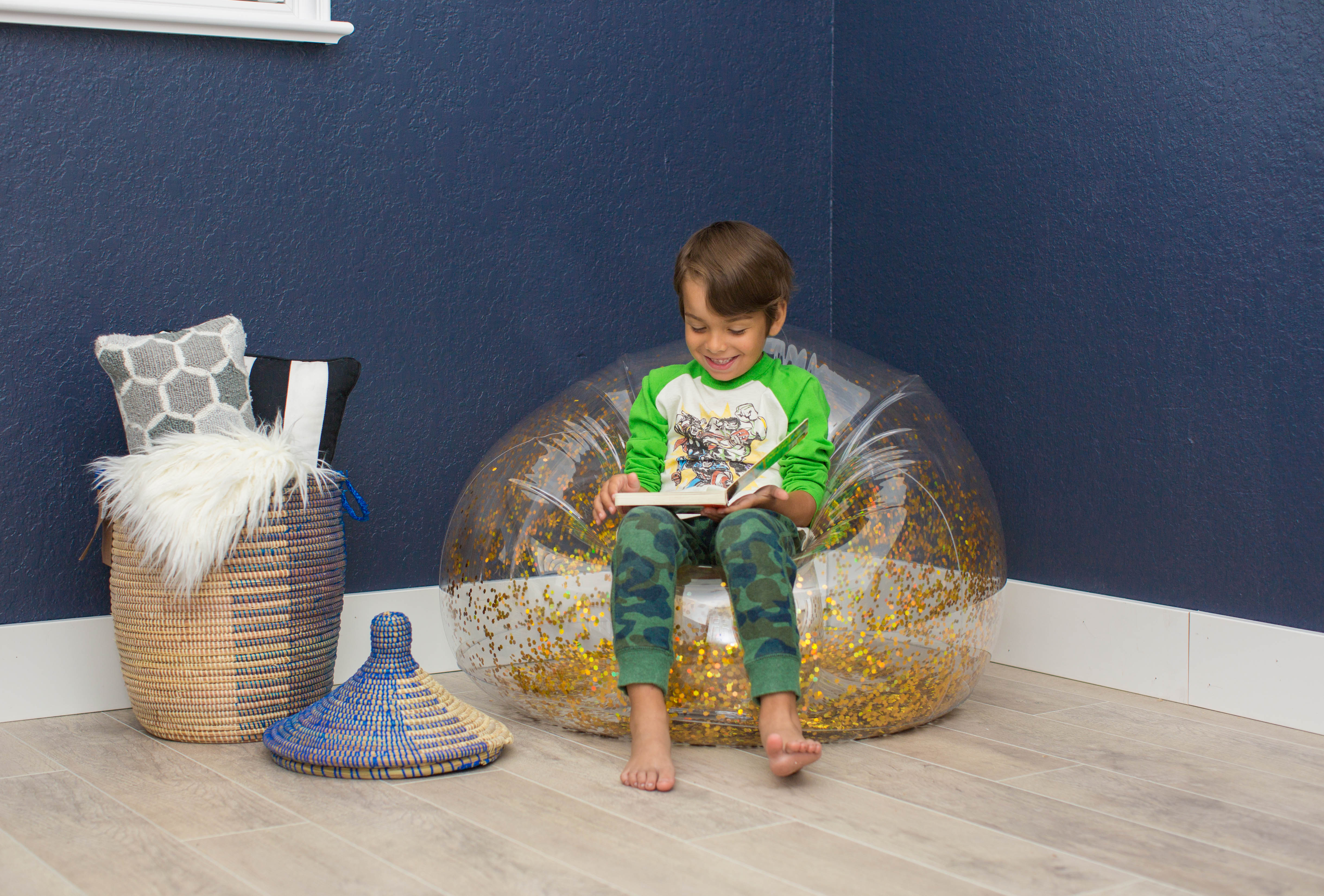 Groovy Mainstays Kids Inflatable Glitter Chair Gold Silver Theyellowbook Wood Chair Design Ideas Theyellowbookinfo