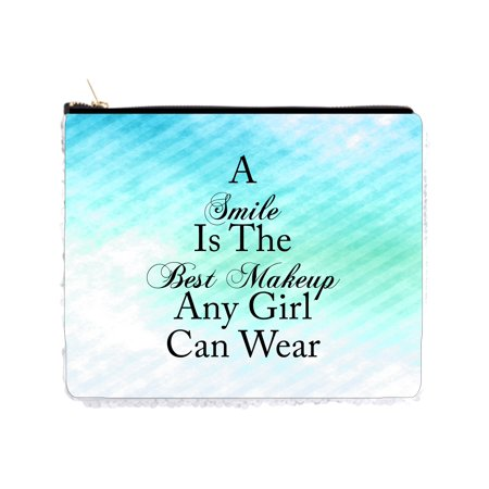 Smile is the Best Makeup Quote on Blue Retro Grunge Print - 2 Sided 6.5