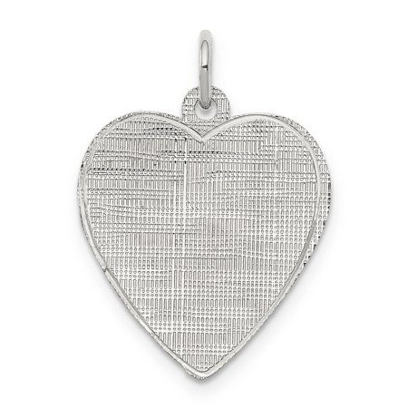 925 Sterling Silver Rh Plt Engraveable Heart Patterned Front Back Disc Necklace Pendant Charm Engravable Fine Jewelry Gifts For Women For Her - image 6 of 6
