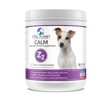 vital planet - calm powder for dogs - natural anti anxiety supplement for dogs - 111 grams 60