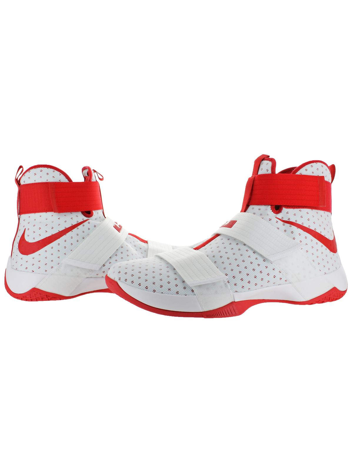 Nike LeBron Soldier 10 Men's Mesh High-Top Basketball Shoes White Size 18