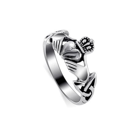 Gem Avenue Heart Shape 925 Sterling Silver Irish Celtic Knot Claddagh Ring