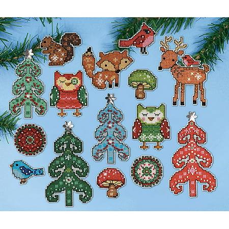 Woodland Friends Ornament Plastic Canvas Kit, 14 Count