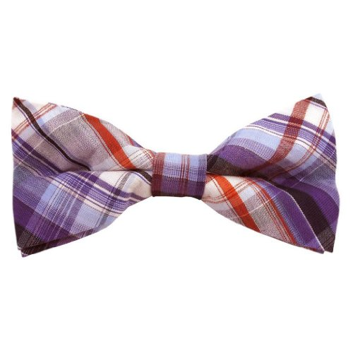 Mens Purple Uptown Cotton Plaid Band Bow Tie