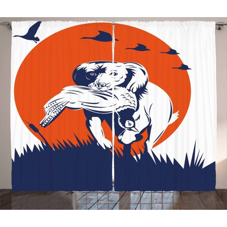 Hunting Decor Curtains 2 Panels Set, Cocker Spaniel Gun Dog Retrieving Pheasant Flying Ducks at Sunset, Window Drapes for Living Room Bedroom, 108W X 84L Inches, Dark Blue Orange White, by Ambesonne