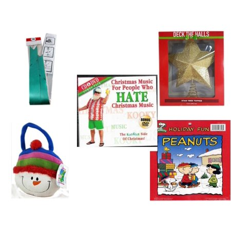 Christmas Fun Gift Bundle [5 Piece] - Myco's Best Pull Bows Set of 10 - Deck The Halls Gold Star Tree Topper 11.5