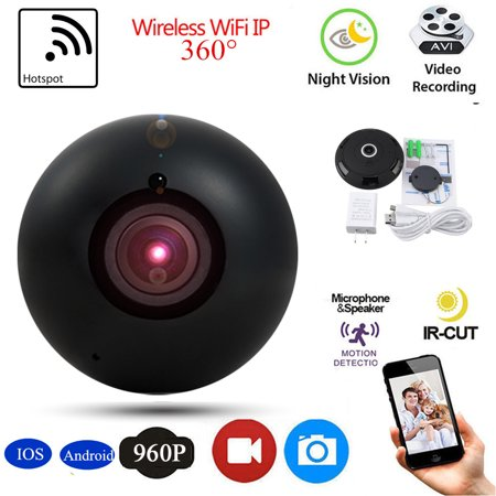 960P HD Mini Wireless Pan&Tilt Wifi IP Camera 360 Degree Panoramic Camera Two Way Audio IR Night Vision Mobile Detection For Android/IOS Ohone PC Tablet APP (The Best Mobile Security For Android)