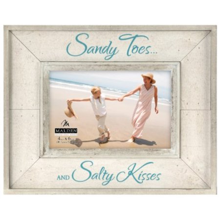 Malden International Designs Sun Washed Woods Vacation Memories Sandy Toes and Salty Kisses Sand Distressed Picture Frame, 4x6, Sand](Unity Sand Frame)