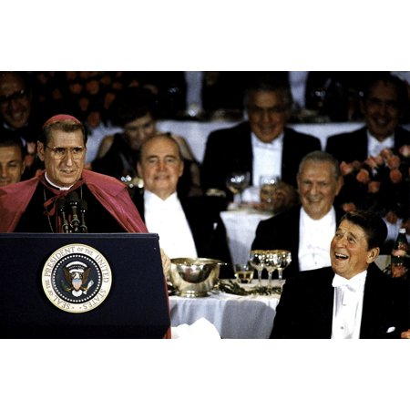 Archbishop OConnor and President Ronald Reagan at the Al Smith Dinner in New York City Photo - Halloween Dinner New York City