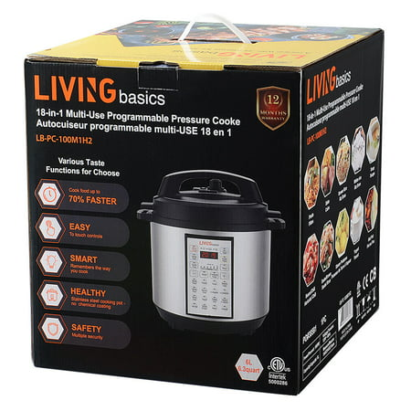6 Quart Multi-use Pressure Cooker, 18-in-1 Programmable Rice cooker, Stainless inner cntainer - image 3 of 10