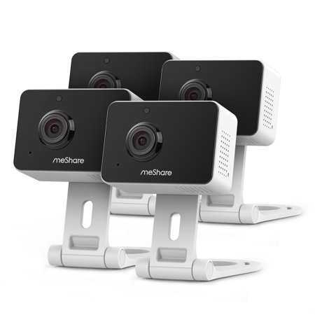 meShare 1080p Mini Wireless Two-way Audio Camera 4-Pack with Free 6-Month Cloud Service Plan and Cloud AI Security-Works with Google - Indoor Outdoor Digital Camera
