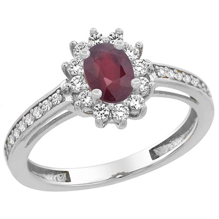 14K White Gold Enhanced Ruby Flower Halo Ring Oval 6x4mm Diamond Accents, size 5
