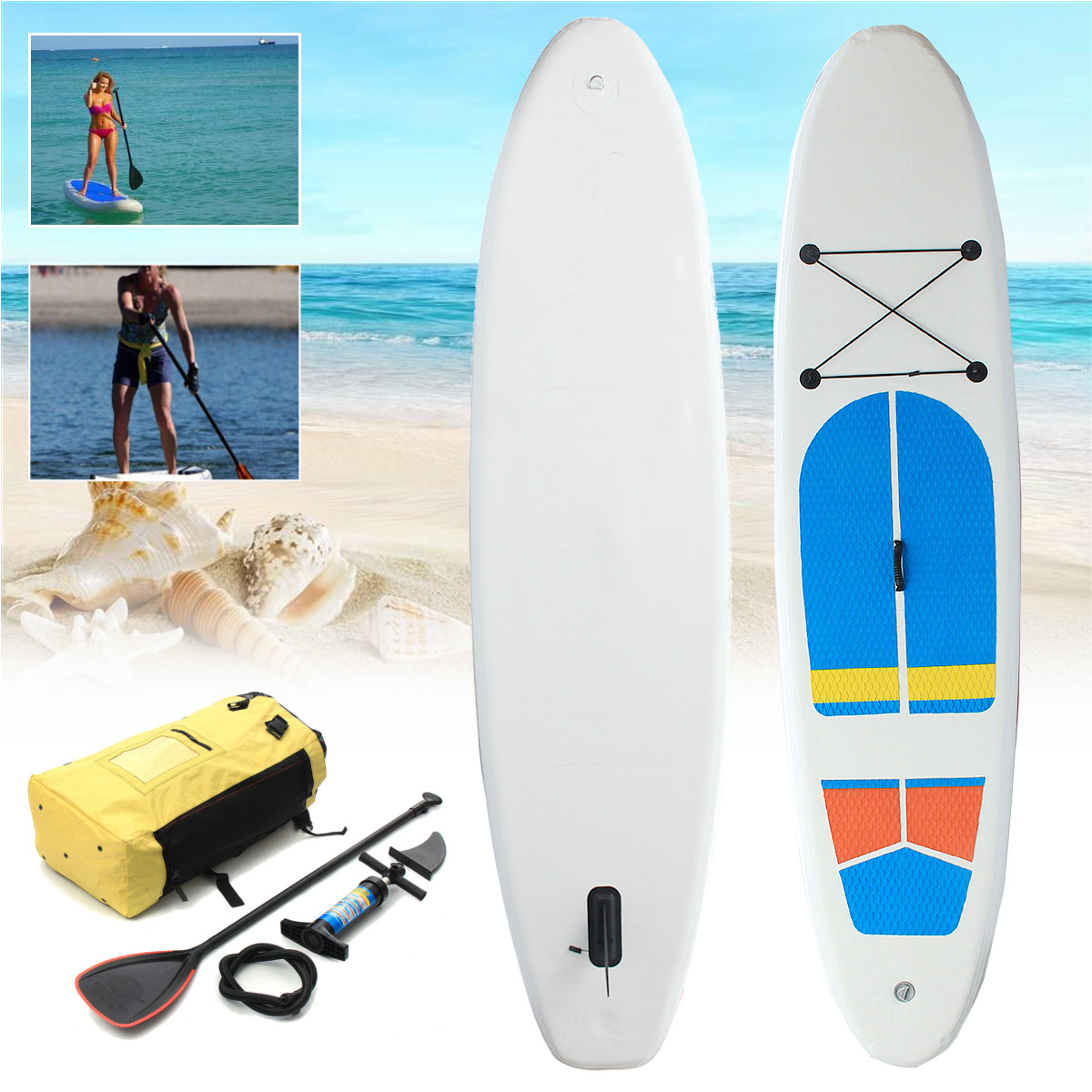 10ft x 2.5ft SUP Stand Up Paddle Surfboard  Inflatable Board with Travel Backpack Hand Pump for Surfing/ Aqua Yoga/Fishing