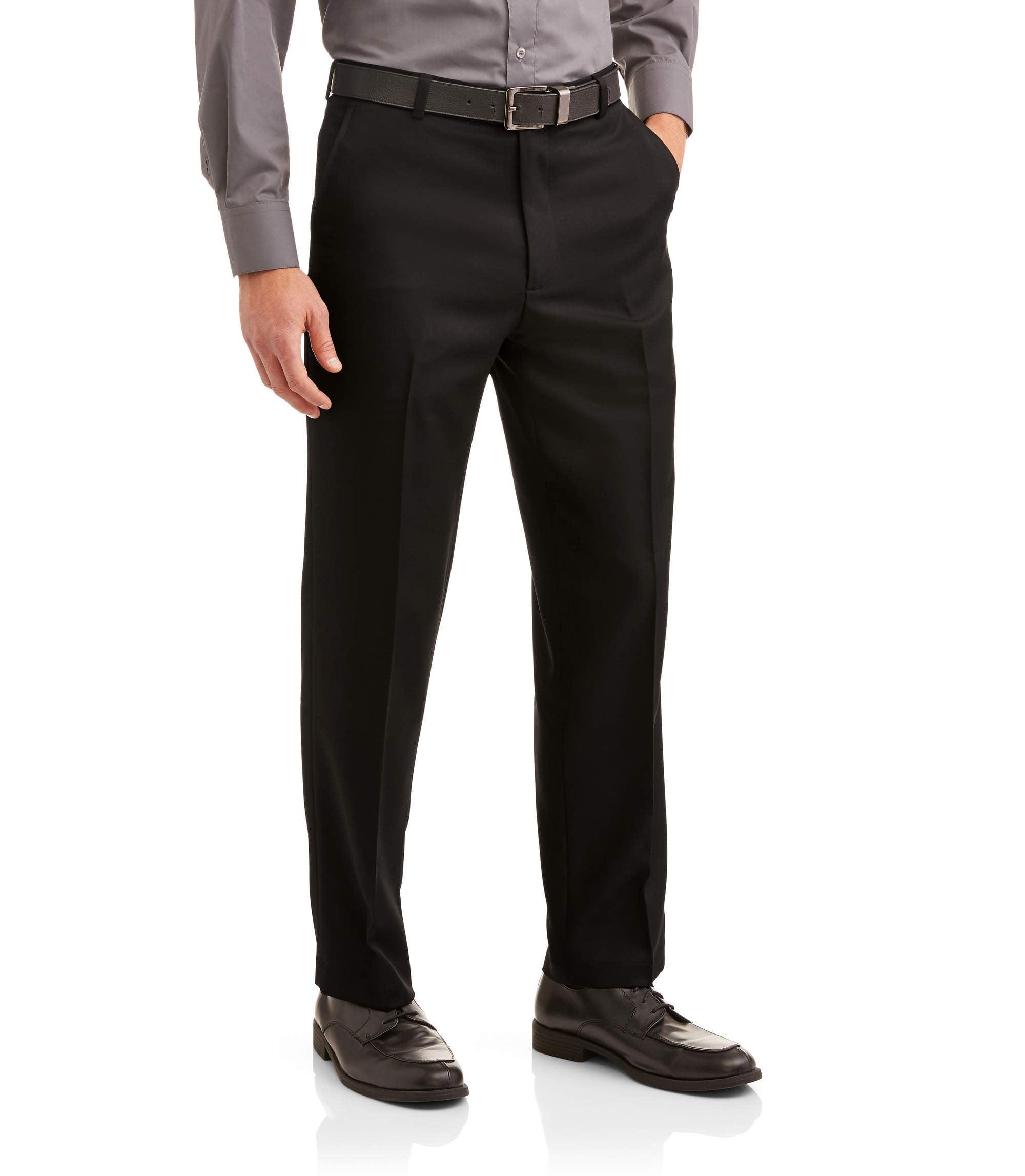 1d896ba6133 George - George Men's Microfiber Performance Flat Front Dress Pant -  Walmart.com