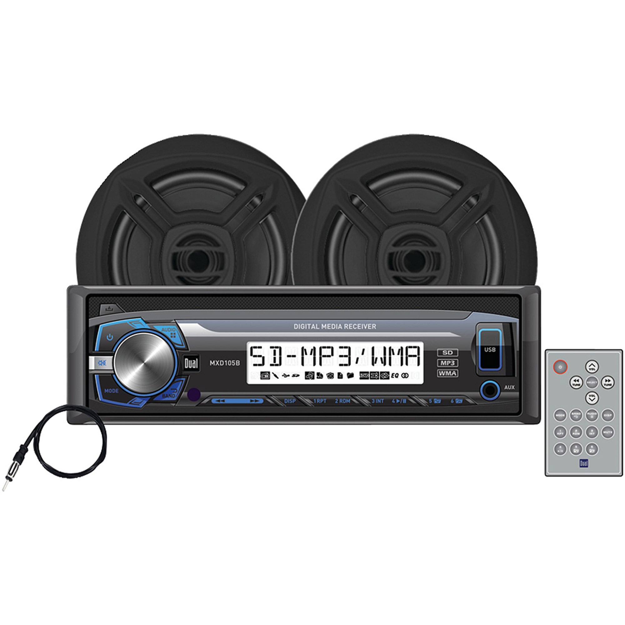 """Dual MCP103 Marine Single-DIN Mechless Kit with Digital Marine Receiver and 6.5"""" Speakers"""