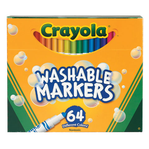 Crayola Markers - Skinny - Washable - Bold Color - 64 Count