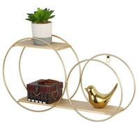 Wall Mounted 2 Tier Floating Shelves Circular Metal Display Organizer Rack Holder Gold
