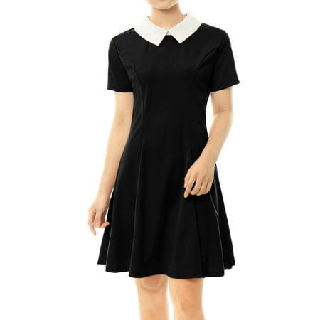 5311de8c782 Allegra K - Women Peter Pan Collar Above Knee Fit and Flare Dress Skirt -  Walmart.com